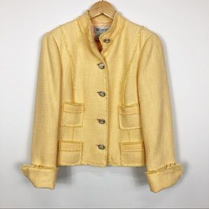 Worth Yellow Blazer With Opal Buttons Size 10
